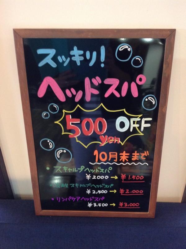 ヘッドスパ  キャンペーン!500円OFF